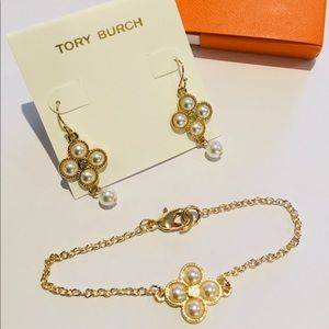 🛍Tory Burch Rope clover earrings and bracelet set
